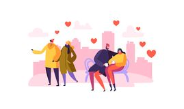 Caracteres masculinos y femeninos en amor Día romántico de los pares felices en la ciudad Las tarjetas del día de San Valentín ca stock de ilustración