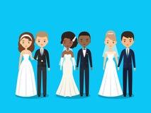 Caracteres planos de novia y del novio Ilustración del vector ilustración del vector