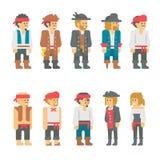 Caracteres planos del pirata del diseño fijados Imagenes de archivo