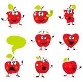 Caracteres rojos divertidos de la fruta de Apple aislados en blanco Imágenes de archivo libres de regalías