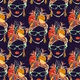 Caracteres tropicales exhaustos de las mujeres de La Habana de la mano elegante y colorida con el modelo inconsútil de la histori ilustración del vector