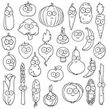 Caracteres vegetales felices dibujados mano Fotografía de archivo
