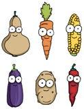 Caracteres vegetales felices dibujados mano Imágenes de archivo libres de regalías