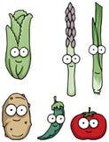 Caracteres vegetales felices dibujados mano Imagenes de archivo
