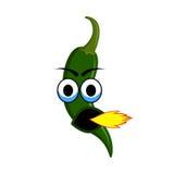 Caracteres verdes calientes de la pimienta de la historieta de Chili Jalapeno Fotografía de archivo libre de regalías