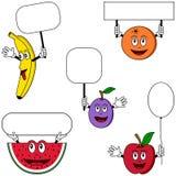 Caracteres y carteles [1] de la fruta Imagenes de archivo