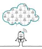 Caracteres y nube - red stock de ilustración