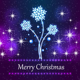 Caracterizando o fundo novo do conceito do Natal com flocos de neve Imagem de Stock Royalty Free