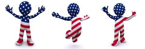 caractère 3d texturisé avec l'indicateur des Etats-Unis Image stock