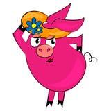 Caractère animal à la mode de dessin animé de porc Image stock