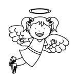 Caractère d'ange de petite fille Photo stock