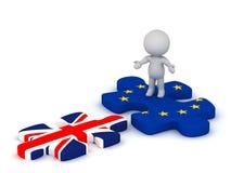 caractère 3D avec le morceau et le drapeau britannique P de puzzle d'Union européenne Image libre de droits