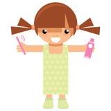 Caractère de fille de bande dessinée tenant la brosse à dents et la pâte dentifrice pour laver Photographie stock libre de droits
