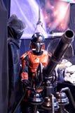 Caractère fictif de Star Wars examinant une arme à feu Image libre de droits