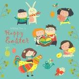 Caractères et icônes sur le thème de Pâques dans le style de bande dessinée Image stock