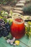 Carafe de vin rouge avec un groupe de raisins photographie stock