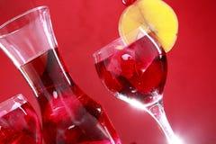 Carafe do Sangria para dois ou suco de fruta mixa Foto de Stock Royalty Free