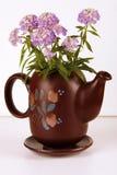 Carafe with Flower. Brown designed Carafe with violet Flower Stock Images