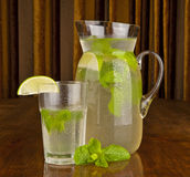 Carafe and glass full of lemonade Royalty Free Stock Images