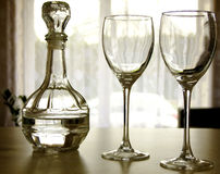 Carafe with Glasses. Carafe and two Glasses closeup on the Table Stock Photos