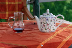 Carafe with juice and teapot Royalty Free Stock Image