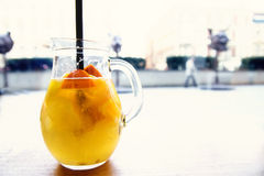 Carafe of lemon, honey, orange and water royalty free stock photography