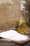 Carafe with oil. Carafe with vegetable oil on the table Royalty Free Stock Photography