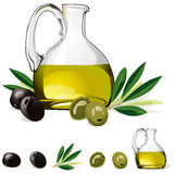 Carafe with olive oil, green and black olive Royalty Free Stock Images
