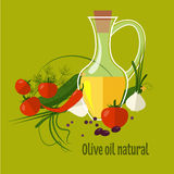 Carafe with Olive Oil Isolated on Background Stock Photography