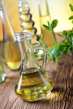 Carafe with olive oil, Mediterranean rural theme Stock Photography