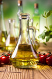 Carafe with olive oil, Mediterranean rural theme Stock Photo