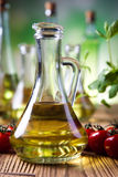Carafe with olive oil, Mediterranean rural theme Royalty Free Stock Photography