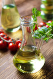 Carafe with olive oil, Mediterranean rural theme Royalty Free Stock Photos