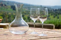 Carafe and a two wine glasses Royalty Free Stock Photos