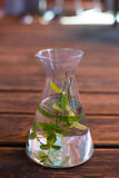Carafe with water and mint-leafs Stock Photo