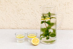Carafe with water, mint and lemon Royalty Free Stock Photo