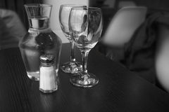 Carafe of water and two glasses. Stock Photos