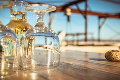 Carafe of white wine with wine glasses royalty free stock photography