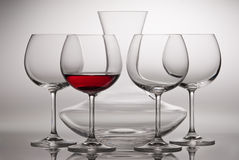 Carafe and wineglasses Royalty Free Stock Photo