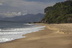 Caraguatatuba海滩,状态的北海岸美丽的景色  库存图片
