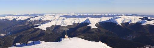 Caraiman Cross and Baiului Mountains panorama stock photo