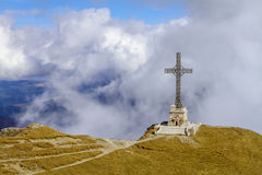 Caraiman cross from the Bucegi mountains,Romania Stock Photo