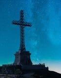 Caraiman Cross, night view Royalty Free Stock Photos