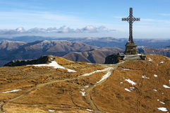 Bucegi Mountains in Romania. The Hero cross from Caraiman peak in Bucegi mountains Romania royalty free stock photos