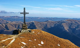 Bucegi Mountains in Romania. The Hero cross from Caraiman peak in Bucegi mountains, Romania royalty free stock photo
