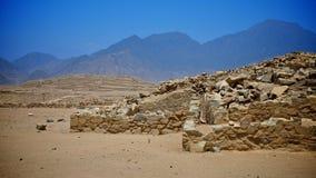 Caral, UNESCO-Welterbestätte und die älteste Stadt in t Lizenzfreies Stockbild