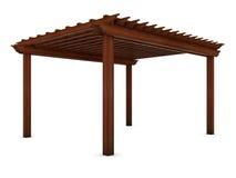 Caramanchão de madeira no branco Fotos de Stock Royalty Free