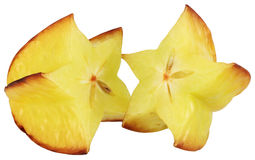 Carambola. Sliced starfruit isolated on white stock photography