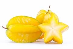 carambola do fruto de estrela ou starfruit da maçã de estrela no alimento saudável do fruto de estrela do fundo branco isolado Fotografia de Stock Royalty Free