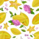 Carambola e fiore senza cuciture del modello royalty illustrazione gratis